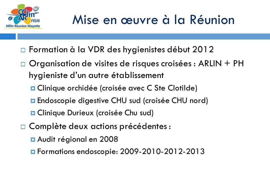Mise en œuvre à la Réunion Formation à la VDR des hygienistes début 2012 Organisation de visites de risques croisées : ARLIN + PH hygieniste dun autre