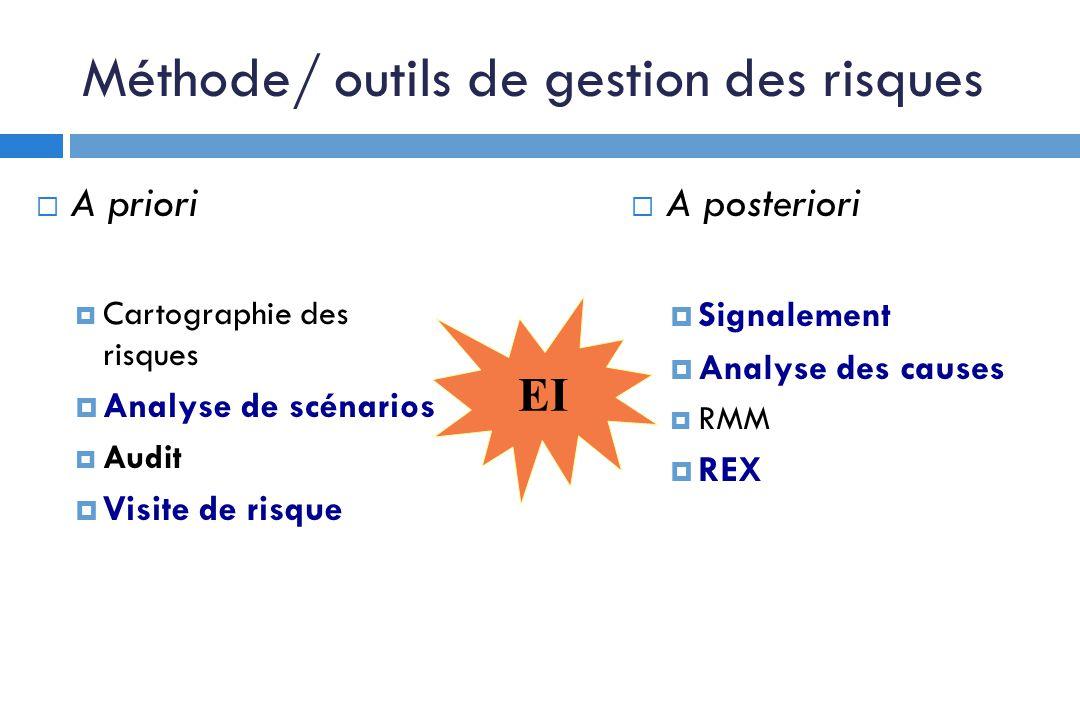Méthode/ outils de gestion des risques A priori Cartographie des risques Analyse de scénarios Audit Visite de risque A posteriori Signalement Analyse des causes RMM REX EI