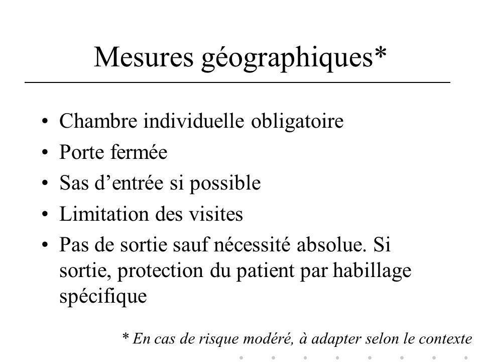 Mesures de prévention En complément des précautions standard A adapter selon le contexte Grande diversité selon les établissements
