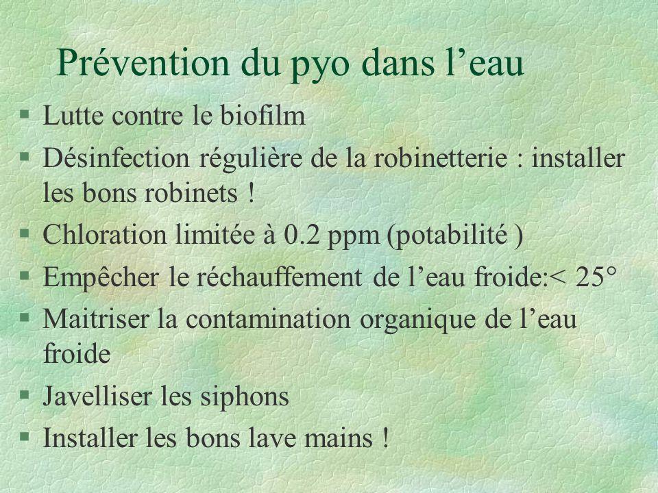 Prévention du pyo dans leau §Lutte contre le biofilm §Désinfection régulière de la robinetterie : installer les bons robinets .