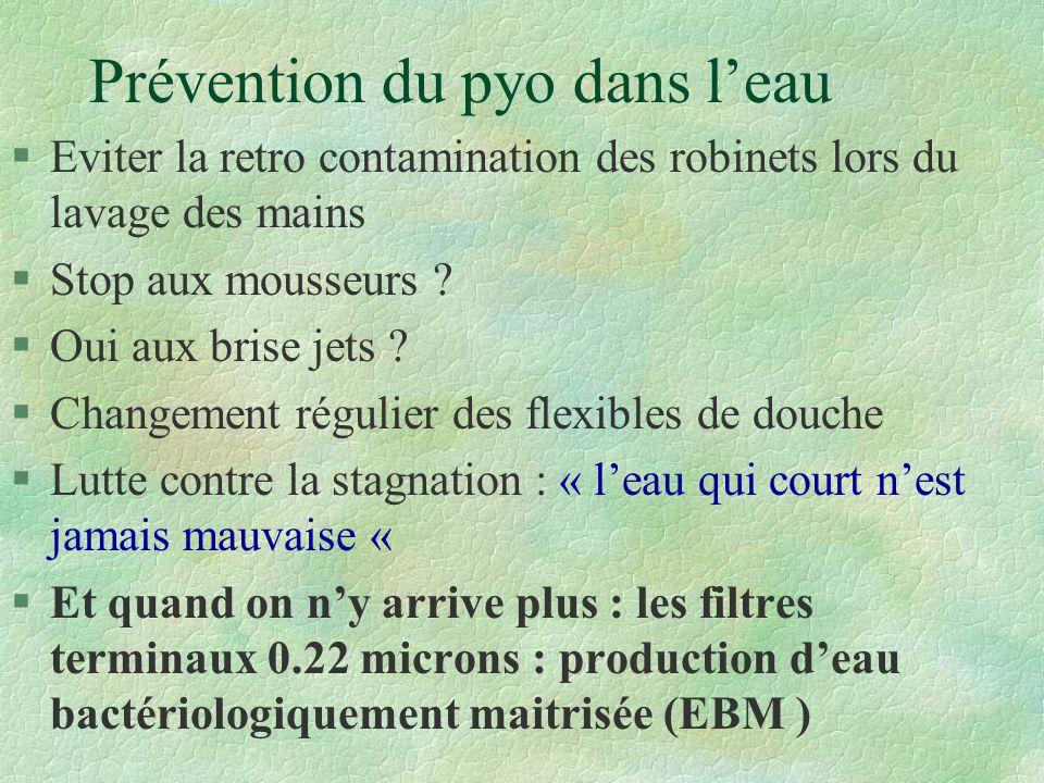 Prévention du pyo dans leau §Eviter la retro contamination des robinets lors du lavage des mains §Stop aux mousseurs .