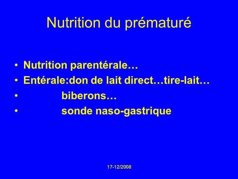 17-12/2008 Nutrition du prématuré Nutrition parentérale… Entérale:don de lait direct…tire-lait… biberons… sonde naso-gastrique
