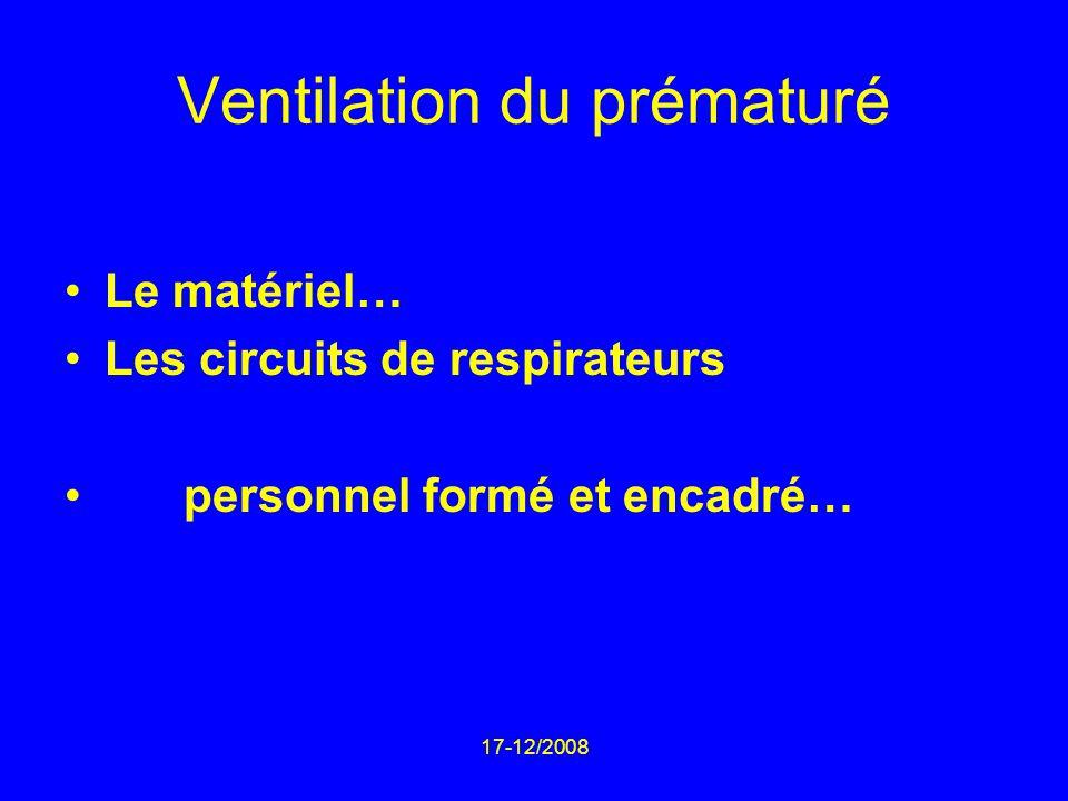 17-12/2008 Ventilation du prématuré Le matériel… Les circuits de respirateurs personnel formé et encadré…