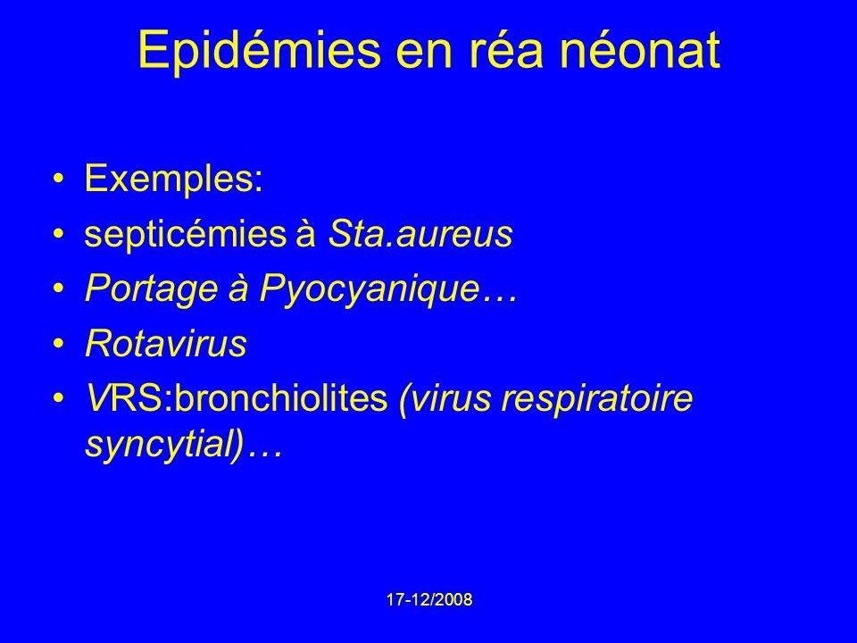 17-12/2008 Epidémies en réa néonat Exemples: septicémies à Sta.aureus Portage à Pyocyanique… Rotavirus VRS:bronchiolites (virus respiratoire syncytial)…