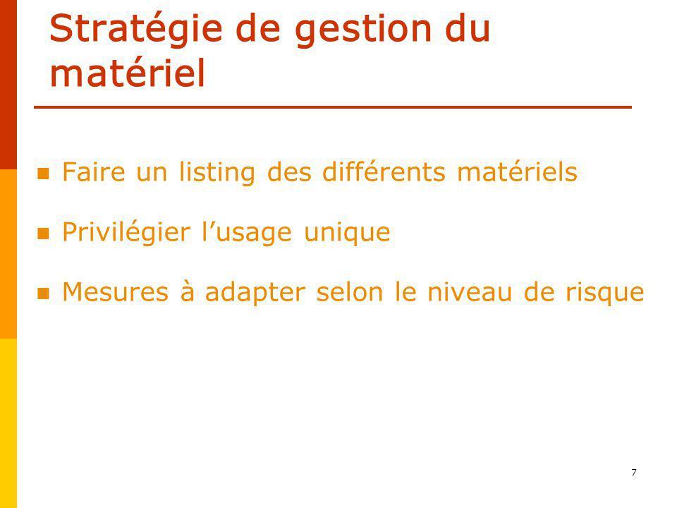 7 Stratégie de gestion du matériel Faire un listing des différents matériels Privilégier lusage unique Mesures à adapter selon le niveau de risque
