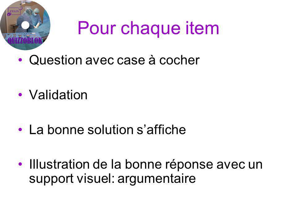 Pour chaque item Question avec case à cocher Validation La bonne solution saffiche Illustration de la bonne réponse avec un support visuel: argumentaire