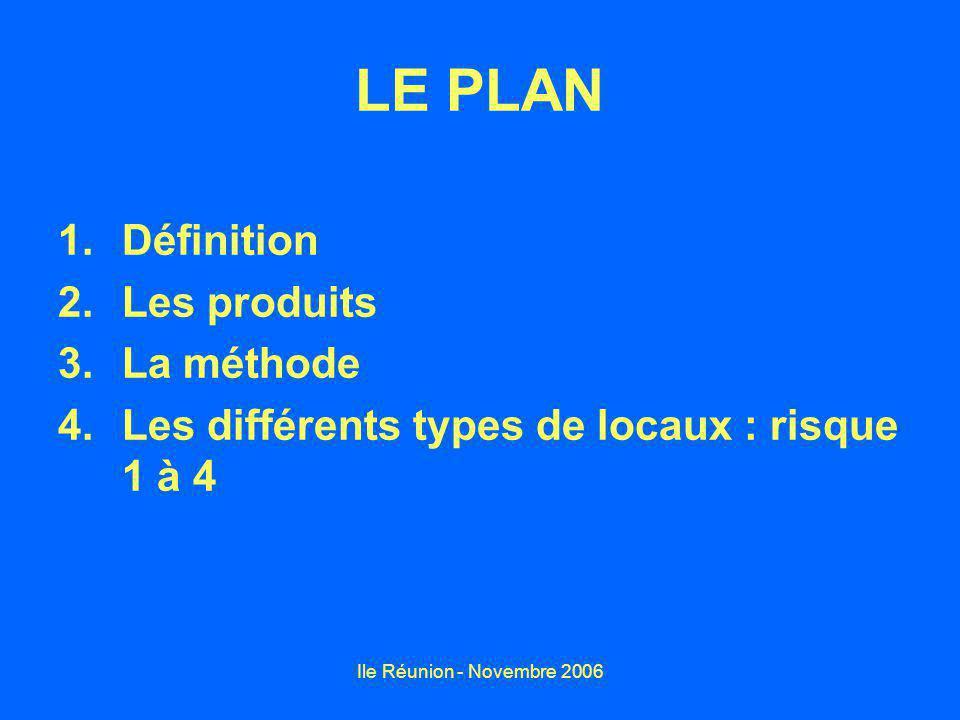 Ile Réunion - Novembre 2006 LE PLAN 1.Définition 2.Les produits 3.La méthode 4.Les différents types de locaux : risque 1 à 4