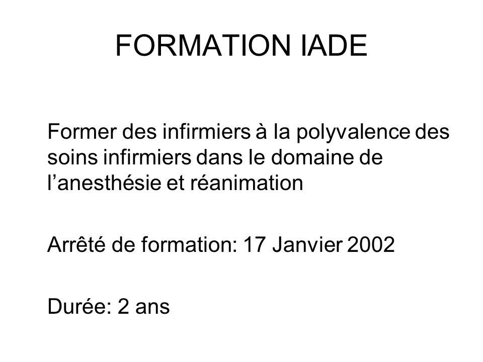 FORMATION IADE Former des infirmiers à la polyvalence des soins infirmiers dans le domaine de lanesthésie et réanimation Arrêté de formation: 17 Janvi