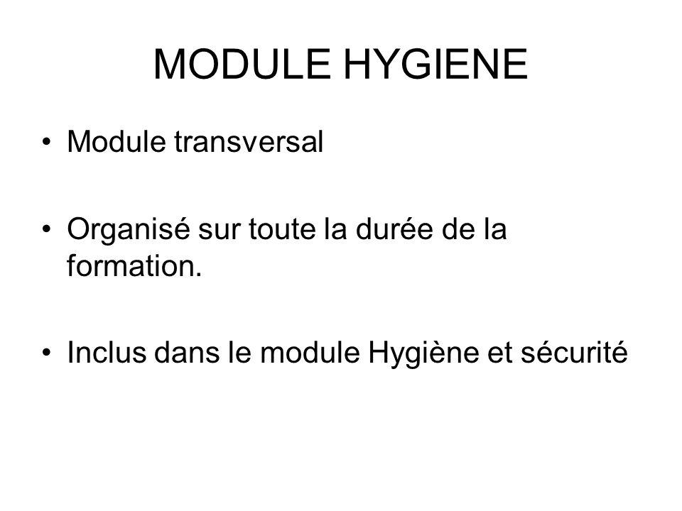 MODULE HYGIENE Module transversal Organisé sur toute la durée de la formation. Inclus dans le module Hygiène et sécurité