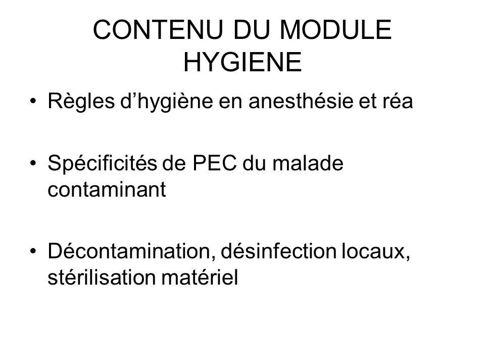 CONTENU DU MODULE HYGIENE Règles dhygiène en anesthésie et réa Spécificités de PEC du malade contaminant Décontamination, désinfection locaux, stérili