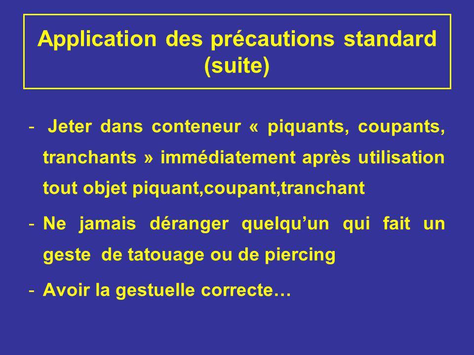 Application des précautions standard (suite) - Jeter dans conteneur « piquants, coupants, tranchants » immédiatement après utilisation tout objet piqu