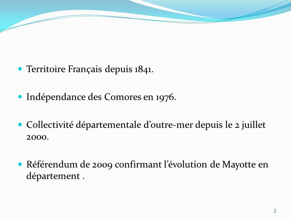 Territoire Français depuis 1841.Indépendance des Comores en 1976.