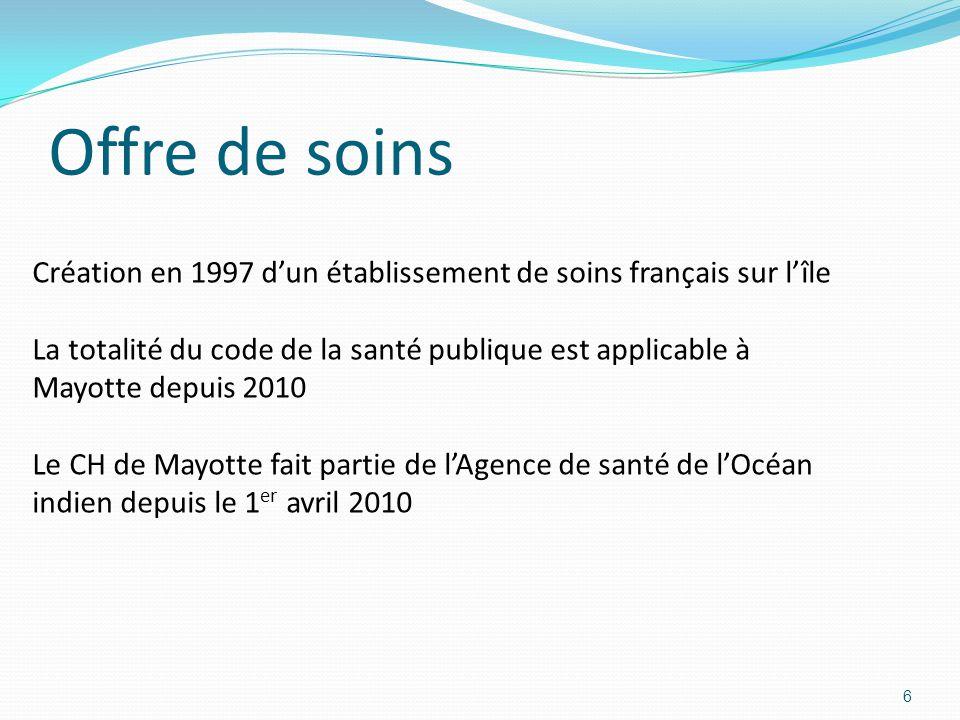Offre de soins 6 Création en 1997 dun établissement de soins français sur lîle La totalité du code de la santé publique est applicable à Mayotte depuis 2010 Le CH de Mayotte fait partie de lAgence de santé de lOcéan indien depuis le 1 er avril 2010