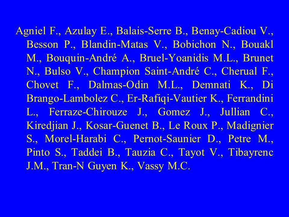 Agniel F., Azulay E., Balais-Serre B., Benay-Cadiou V., Besson P., Blandin-Matas V., Bobichon N., Bouakl M., Bouquin-André A., Bruel-Yoanidis M.L., Br