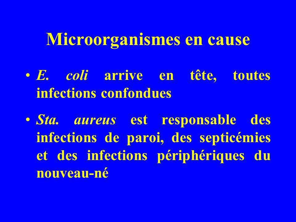 Microorganismes en cause E. coli arrive en tête, toutes infections confondues Sta. aureus est responsable des infections de paroi, des septicémies et