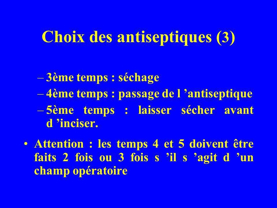 Choix des antiseptiques ( 3 ) –3ème temps : séchage –4ème temps : passage de l antiseptique –5ème temps : laisser sécher avant d inciser. Attention :