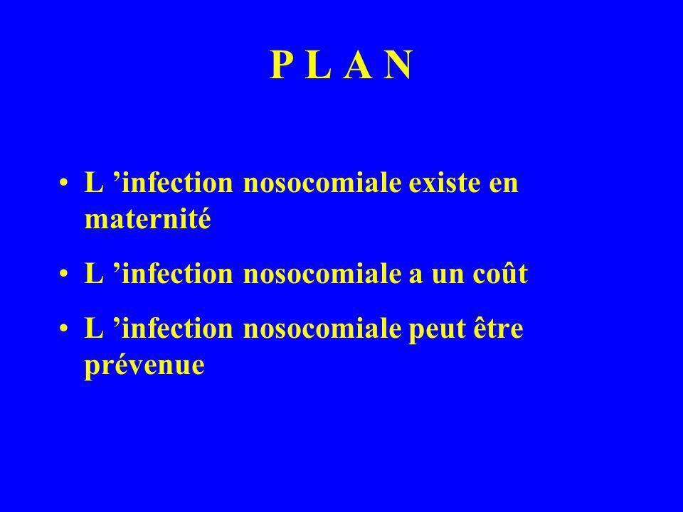 P L A N L infection nosocomiale existe en maternité L infection nosocomiale a un coût L infection nosocomiale peut être prévenue