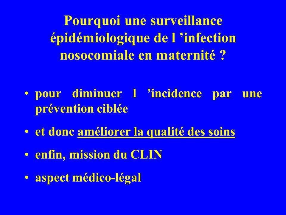 Pourquoi une surveillance épidémiologique de l infection nosocomiale en maternité ? pour diminuer l incidence par une prévention ciblée et donc amélio