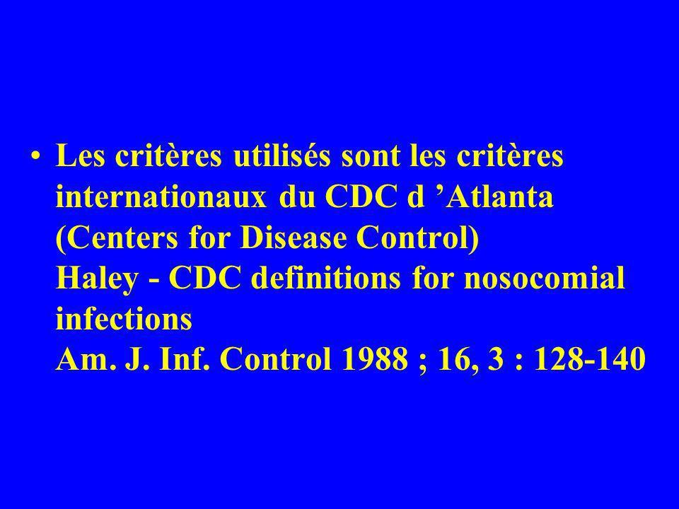 Les critères utilisés sont les critères internationaux du CDC d Atlanta (Centers for Disease Control) Haley - CDC definitions for nosocomial infection