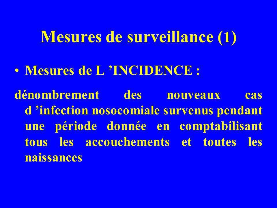 Mesures de surveillance ( 1 ) Mesures de L INCIDENCE : dénombrement des nouveaux cas d infection nosocomiale survenus pendant une période donnée en co