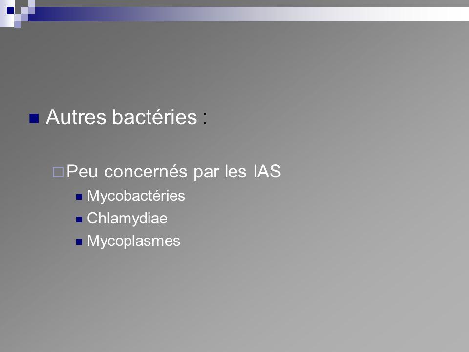 Autres bactéries : Peu concernés par les IAS Mycobactéries Chlamydiae Mycoplasmes