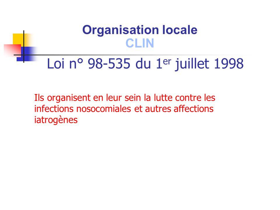 Loi n° 98-535 du 1 er juillet 1998 Ils organisent en leur sein la lutte contre les infections nosocomiales et autres affections iatrogènes Organisatio