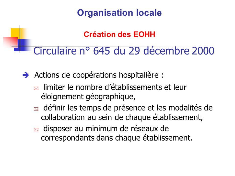 Circulaire n° 645 du 29 décembre 2000 è Actions de coopérations hospitalière : * limiter le nombre détablissements et leur éloignement géographique, *