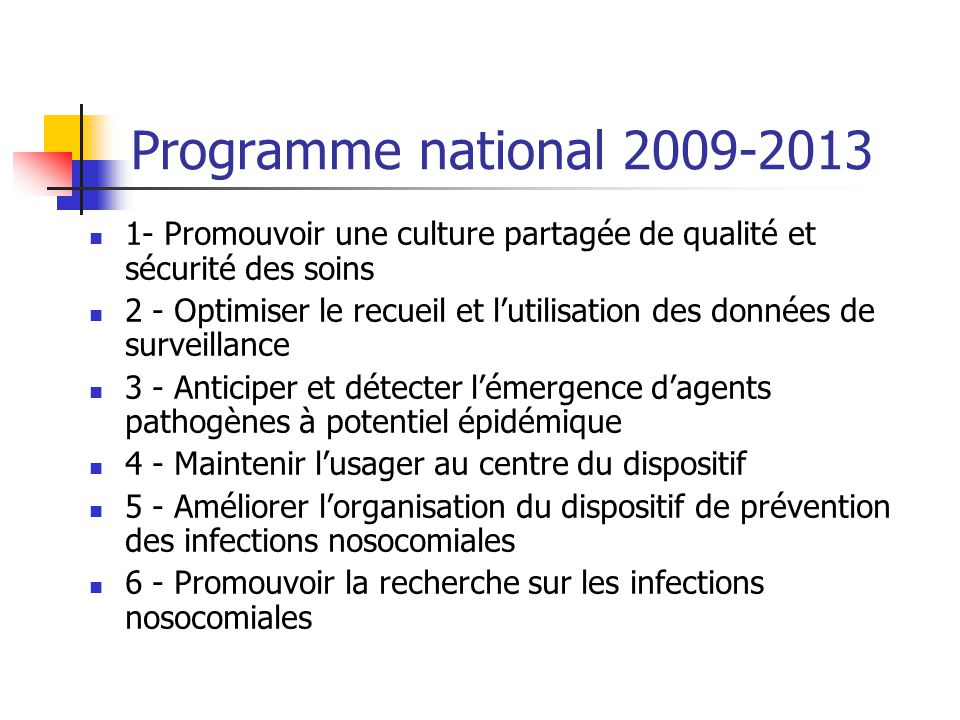 Programme national 2009-2013 1- Promouvoir une culture partagée de qualité et sécurité des soins 2 - Optimiser le recueil et lutilisation des données