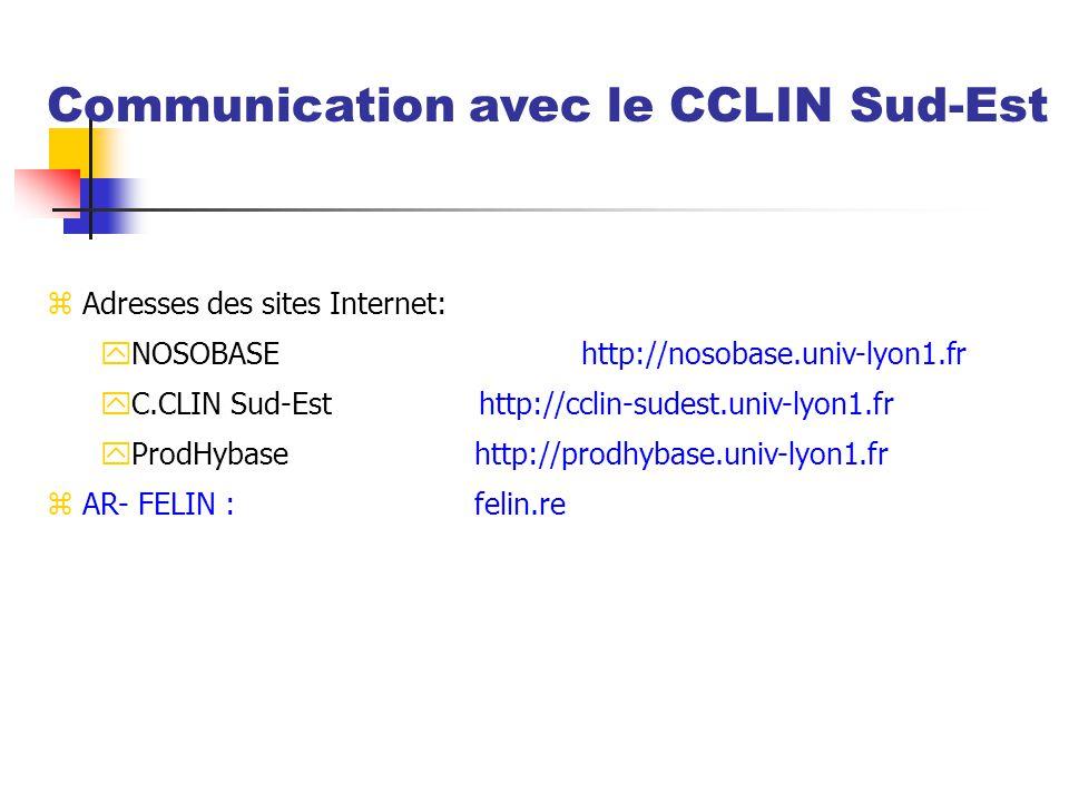 z Adresses des sites Internet: yNOSOBASEhttp://nosobase.univ-lyon1.fr yC.CLIN Sud-Est http://cclin-sudest.univ-lyon1.fr yProdHybasehttp://prodhybase.u