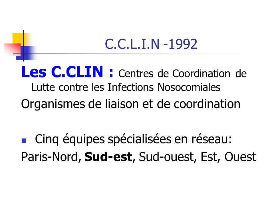 C.C.L.I.N -1992 Les C.CLIN : Centres de Coordination de Lutte contre les Infections Nosocomiales Organismes de liaison et de coordination Cinq équipes