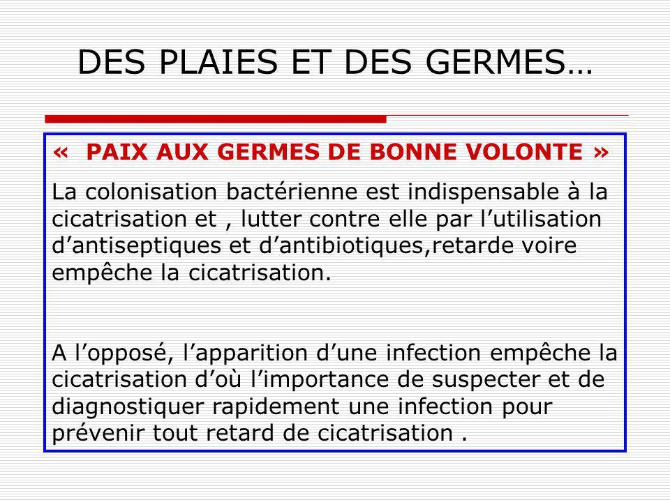 DES PLAIES ET DES GERMES… Répartition des microorganismes isolés dinfections cutanéo-muqueuses (2001) 44,8 % S. aureus 15,5 %P. aeruginosa 7,1 % Prote