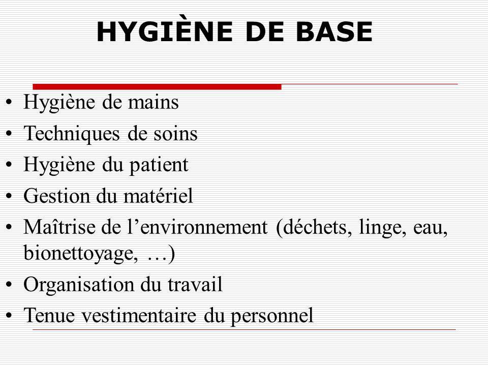 L HYGIENE DE BASE Hygiène de base Précautions standards Précautions particulières