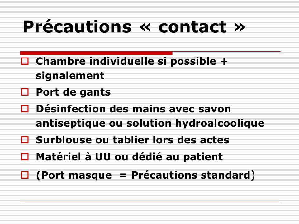 PRÉCAUTIONS PARTICULIÈRES Mesures géographiques Mesures techniques Hygiène des mains Port de gants Port d'une tenue de protection (Déchets) (Renforcem