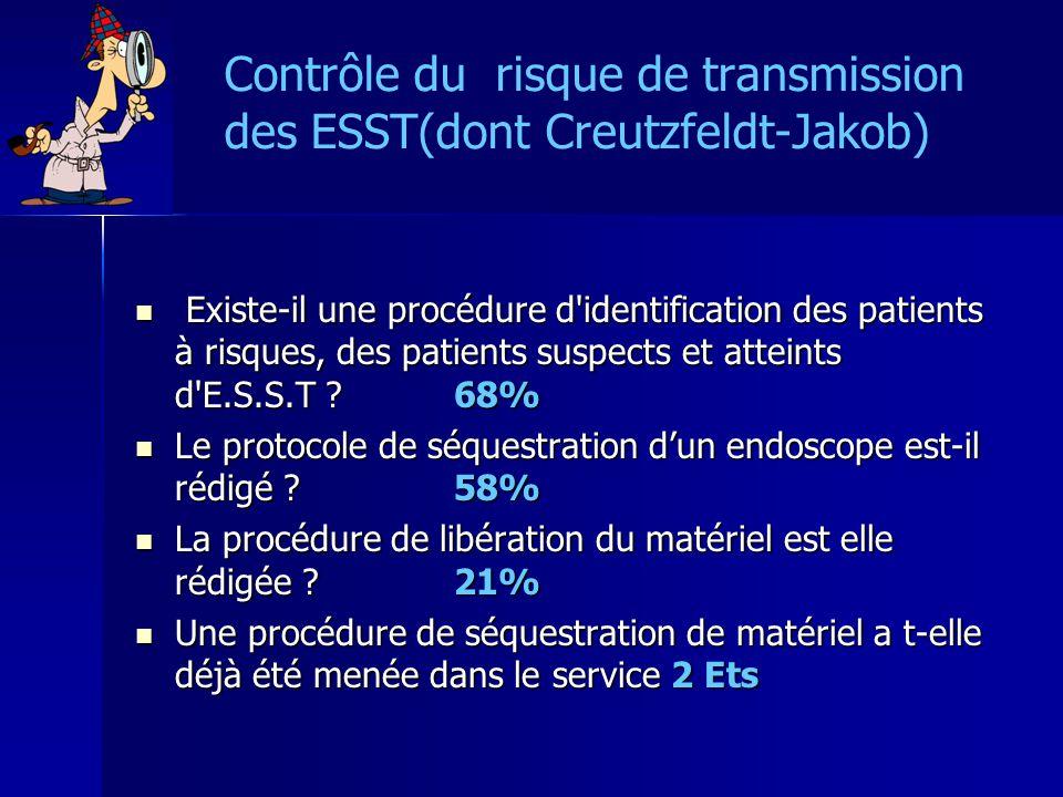 Contrôle du risque de transmission des ESST(dont Creutzfeldt-Jakob) Existe-il une procédure d'identification des patients à risques, des patients susp