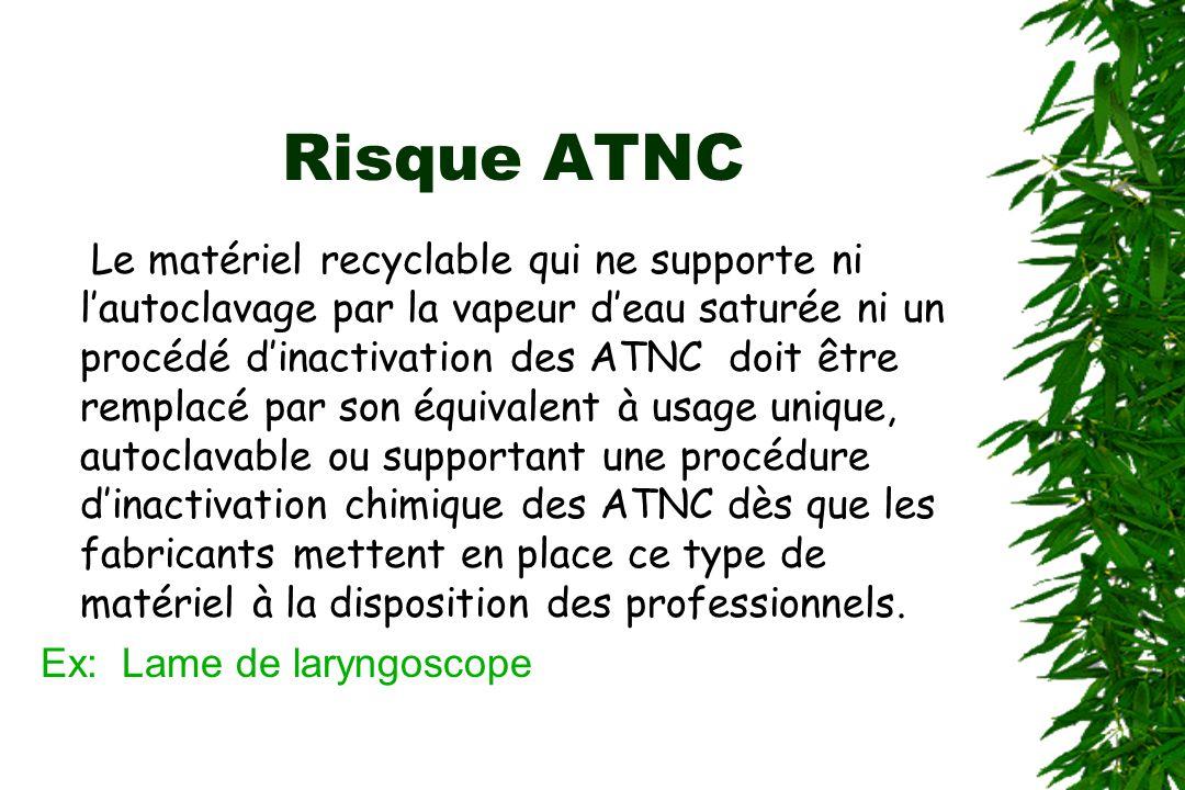 Risque ATNC Le matériel recyclable qui ne supporte ni lautoclavage par la vapeur deau saturée ni un procédé dinactivation des ATNC doit être remplacé