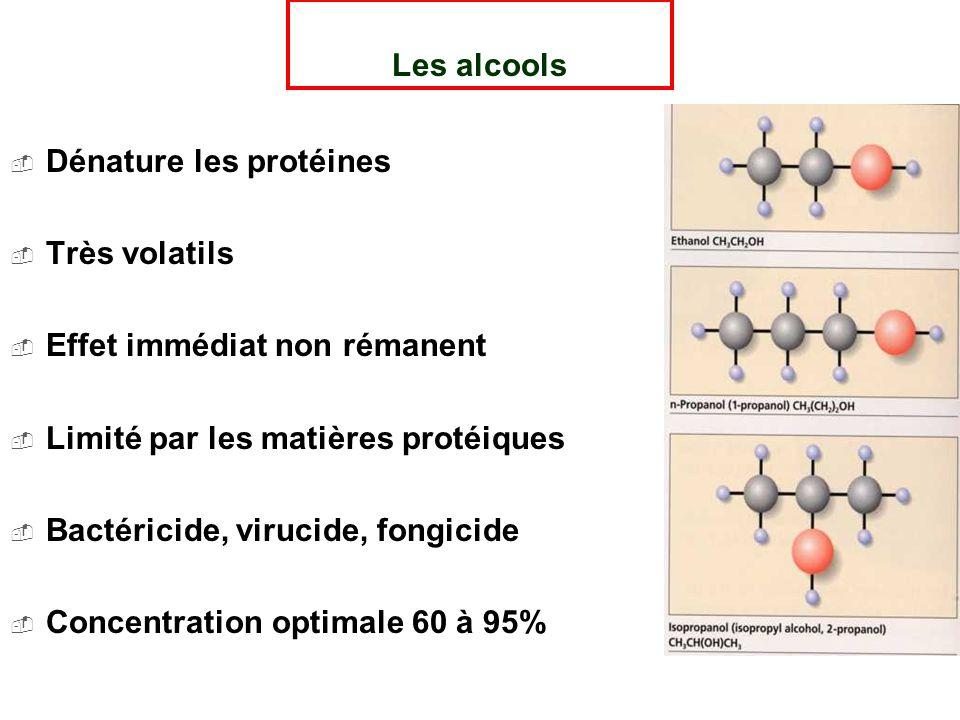 Les alcools Dénature les protéines Très volatils Effet immédiat non rémanent Limité par les matières protéiques Bactéricide, virucide, fongicide Concentration optimale 60 à 95%
