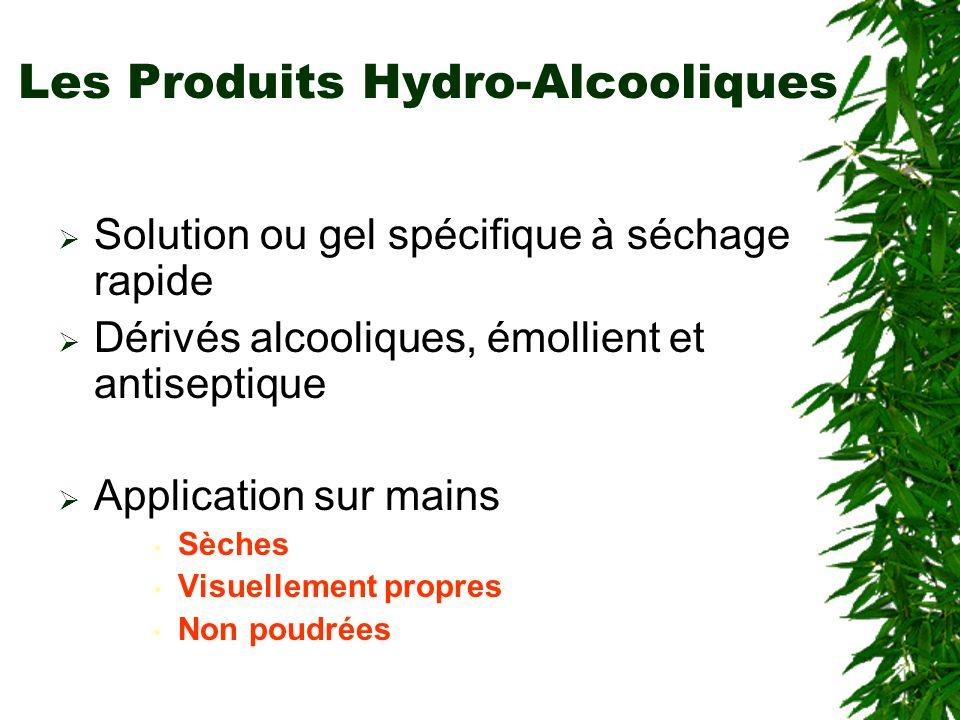 Les Produits Hydro-Alcooliques Solution ou gel spécifique à séchage rapide Dérivés alcooliques, émollient et antiseptique Application sur mains Sèches Visuellement propres Non poudrées