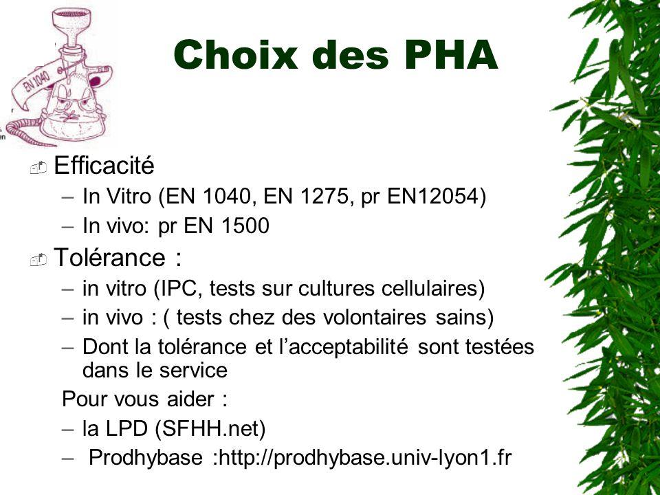 Choix des PHA Efficacité –In Vitro (EN 1040, EN 1275, pr EN12054) –In vivo: pr EN 1500 Tolérance : –in vitro (IPC, tests sur cultures cellulaires) –in vivo : ( tests chez des volontaires sains) –Dont la tolérance et lacceptabilité sont testées dans le service Pour vous aider : –la LPD (SFHH.net) – Prodhybase :http://prodhybase.univ-lyon1.fr