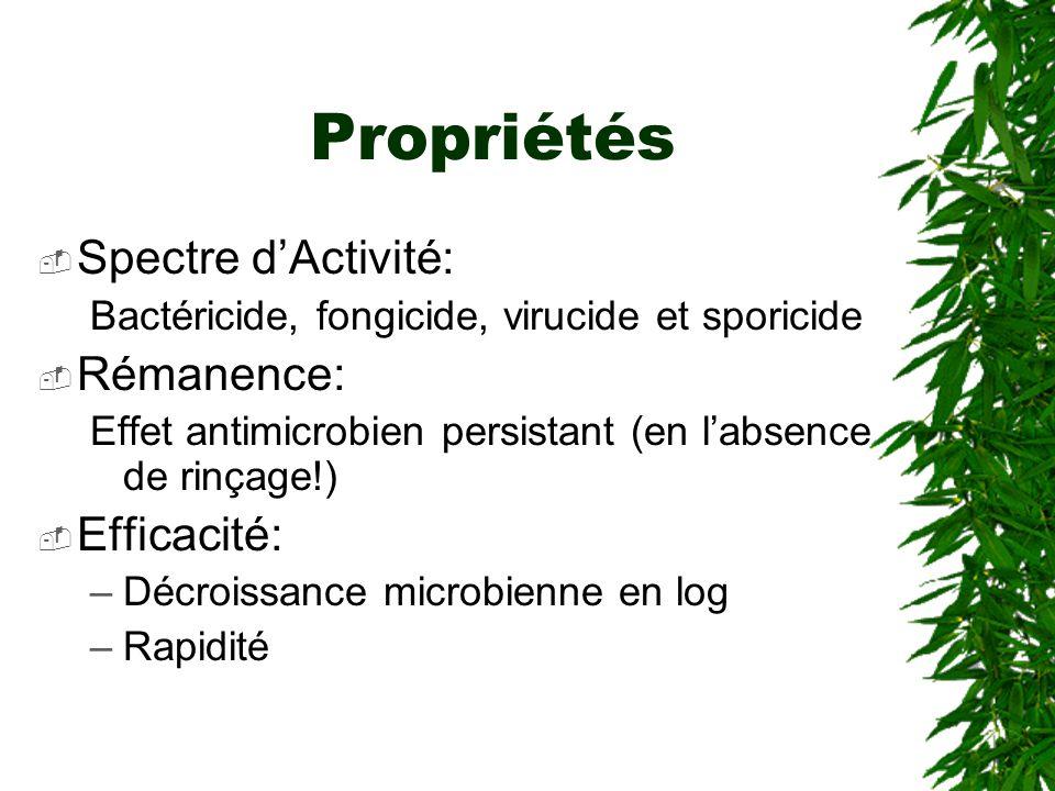 Propriétés Spectre dActivité: Bactéricide, fongicide, virucide et sporicide Rémanence: Effet antimicrobien persistant (en labsence de rinçage!) Efficacité: –Décroissance microbienne en log –Rapidité