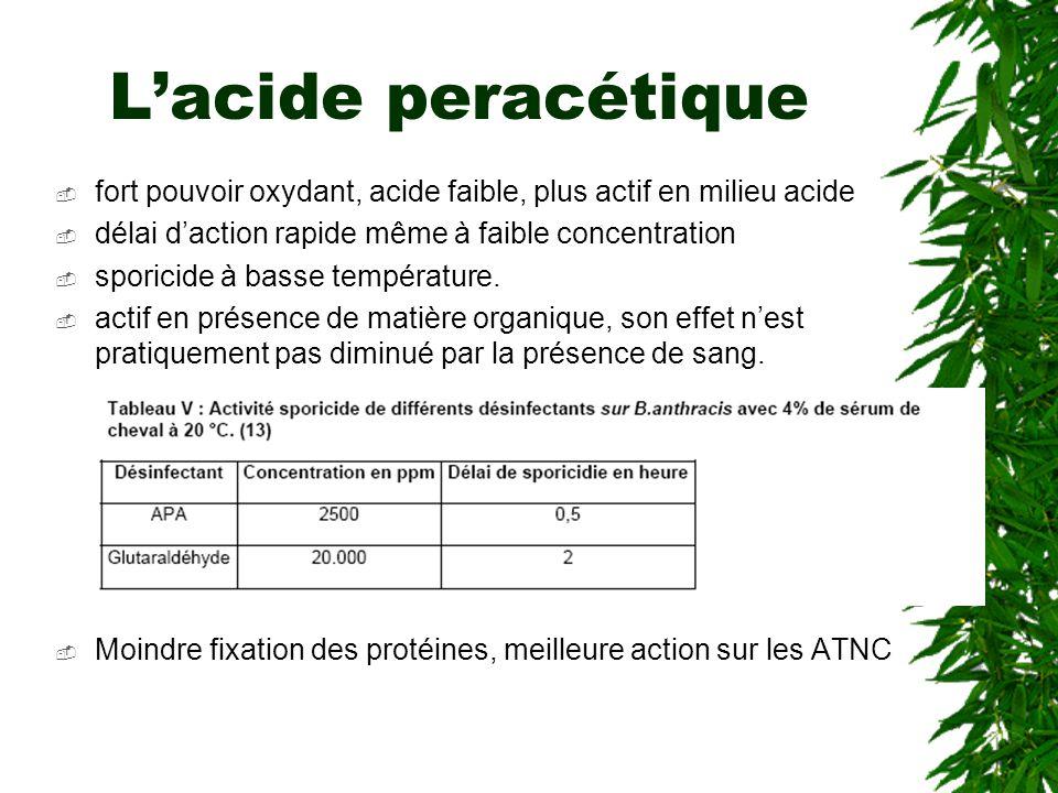 Lacide peracétique fort pouvoir oxydant, acide faible, plus actif en milieu acide délai daction rapide même à faible concentration sporicide à basse température.
