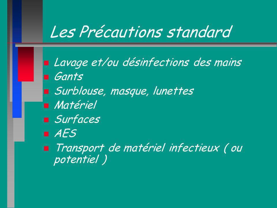 Les Précautions standard n n Lavage et/ou désinfections des mains n n Gants n n Surblouse, masque, lunettes n n Matériel n n Surfaces n n AES n n Tran
