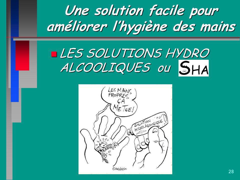 28 Une solution facile pour améliorer lhygiène des mains n LES SOLUTIONS HYDRO ALCOOLIQUES ou