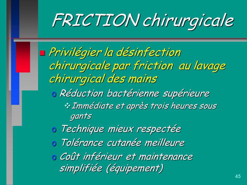 45 FRICTION chirurgicale n Privilégier la désinfection chirurgicale par friction au lavage chirurgical des mains oRéduction bactérienne supérieure Imm