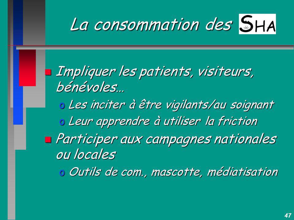 47 La consommation des n Impliquer les patients, visiteurs, bénévoles… oLes inciter à être vigilants/au soignant oLeur apprendre à utiliser la frictio