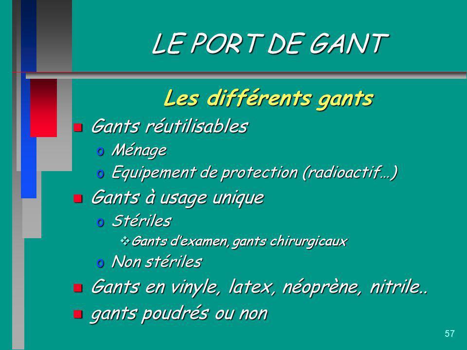 57 LE PORT DE GANT Les différents gants n Gants réutilisables oMénage oEquipement de protection (radioactif…) n Gants à usage unique oStériles Gants d