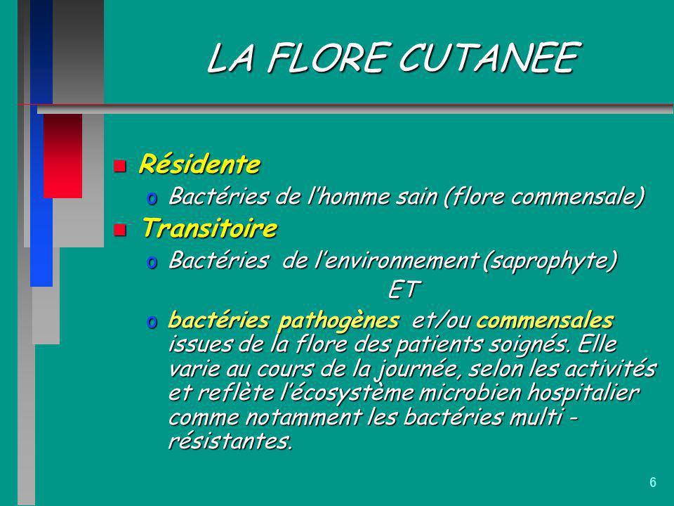6 LA FLORE CUTANEE n Résidente oBactéries de lhomme sain (flore commensale) n Transitoire oBactéries de lenvironnement (saprophyte) ET obactéries path