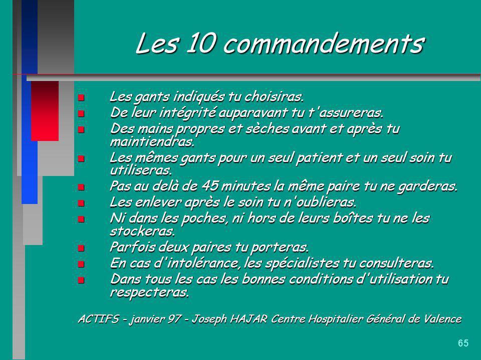 65 Les 10 commandements n Les gants indiqués tu choisiras. n De leur intégrité auparavant tu t'assureras. n Des mains propres et sèches avant et après