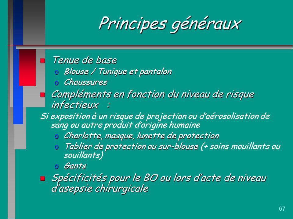 67 Principes généraux n Tenue de base oBlouse / Tunique et pantalon oChaussures n Compléments en fonction du niveau de risque infectieux : Si expositi