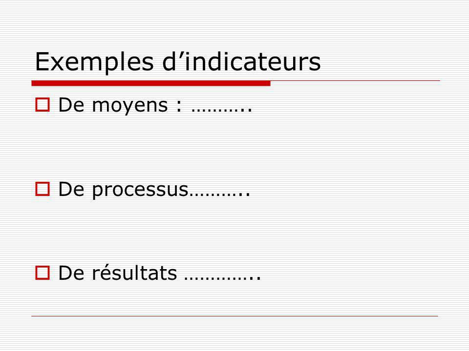 Exemples dindicateurs De moyens : ……….. De processus……….. De résultats …………..