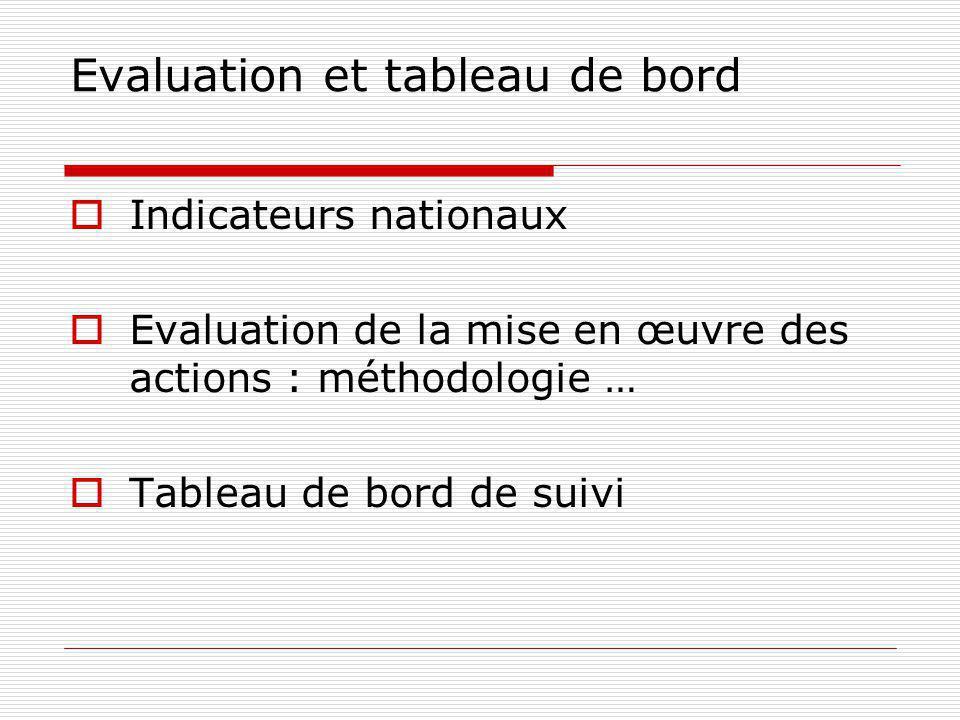Evaluation et tableau de bord Indicateurs nationaux Evaluation de la mise en œuvre des actions : méthodologie … Tableau de bord de suivi